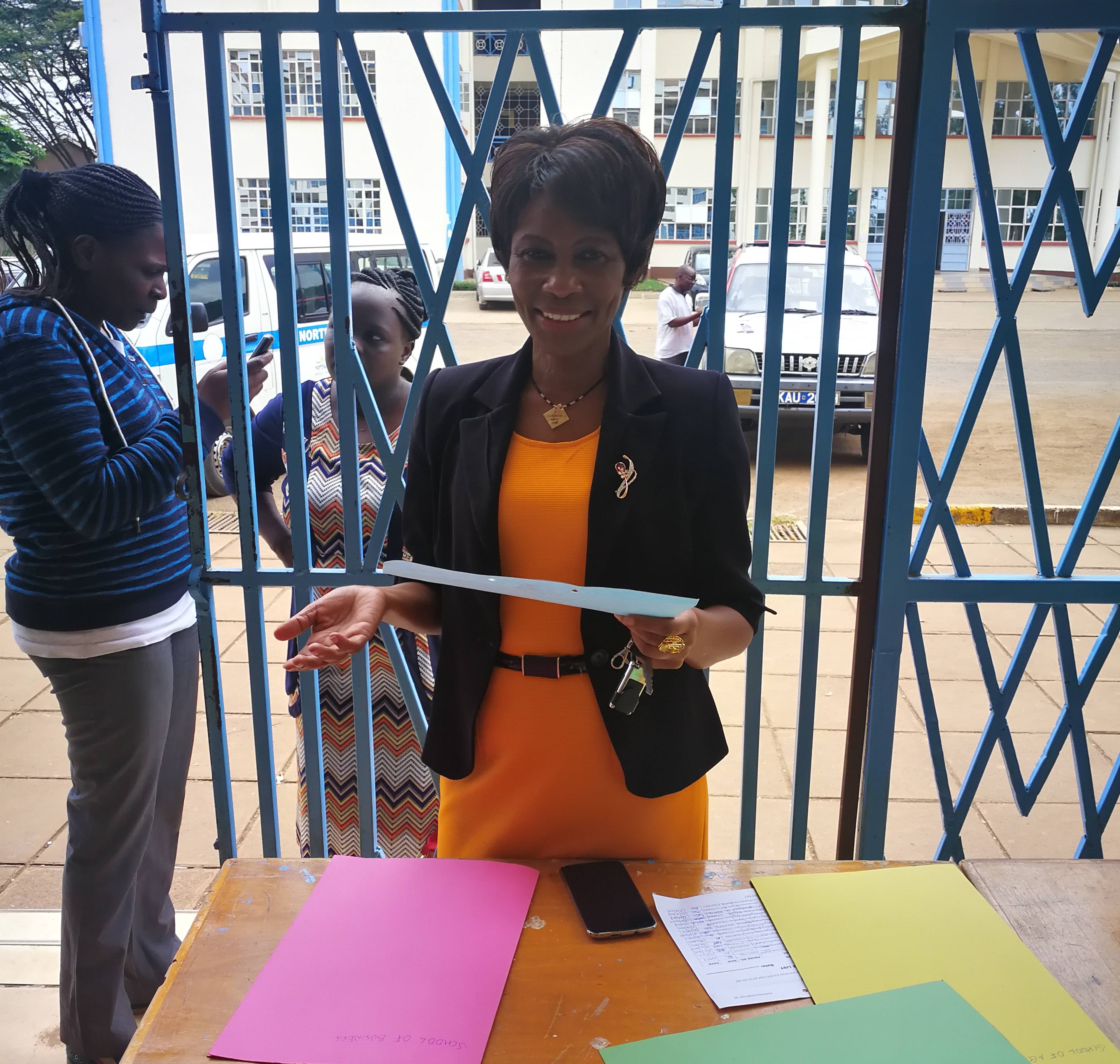 City Campus Administrator-Mrs. Agnes Wangeci Registering Students as they arrive.