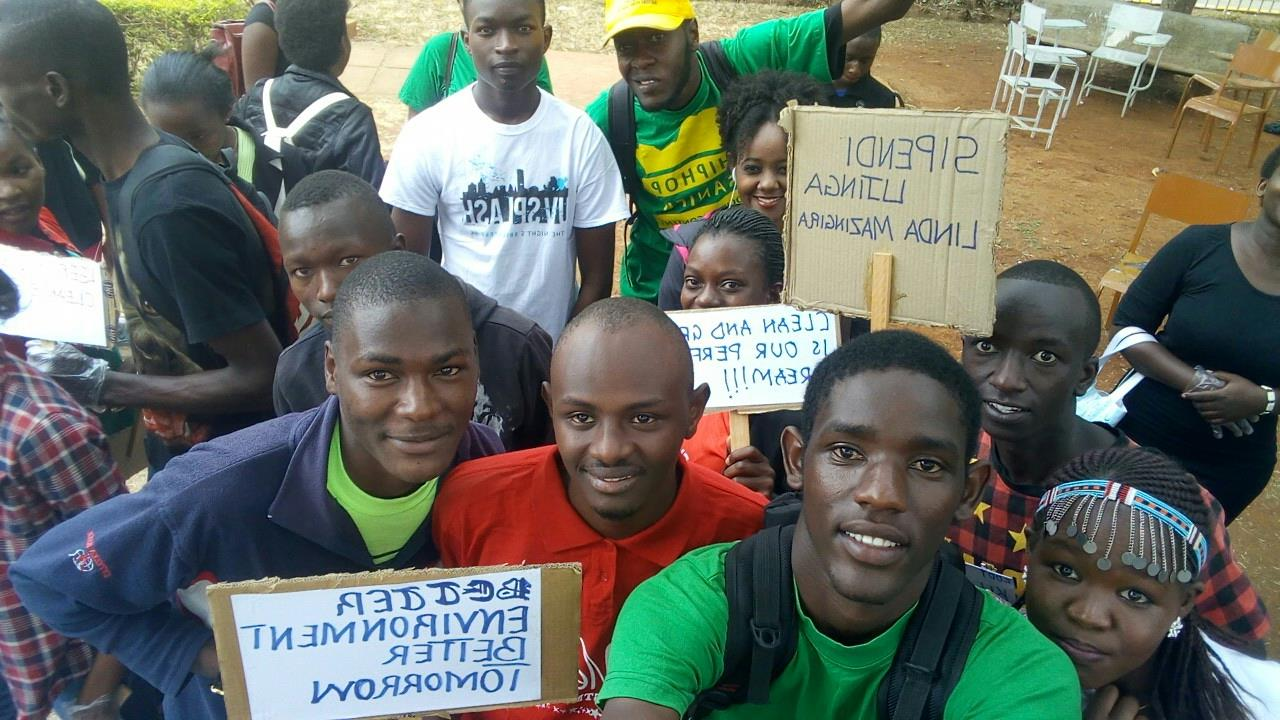 Felix Mwanzia from School of  Environmental Studies (bachelor of environmental science) championing for the environment with friends
